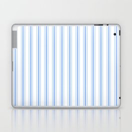 Mattress Ticking Wide Striped Pattern in Pale Blue and White Laptop & iPad Skin