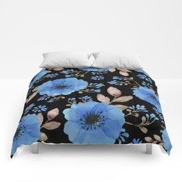 Blue flowers with black Comforters