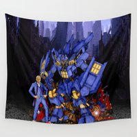 dalek Wall Tapestries featuring 12th Doctor with Dalek Buster Robot Phone Box iPhone 4 4s 5 5c 6, pillow case, mugs and tshirt by Three Second