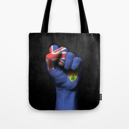 Turks and Caicos Flag on a Raised Clenched Fist Tote Bag