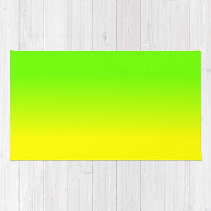 Neon Green And Yellow Ombré Shade Color Fade Rug