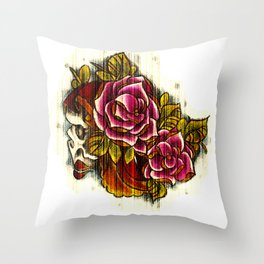 Tattoo Flash grunge....skull rose Throw Pillow