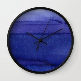 Blue Violet Watercolor Horizontal Stripes Abstract Wall Clock