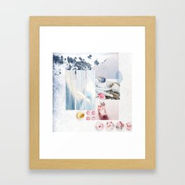 White Winter Mountains :: Fine Art Collage Framed Art Print