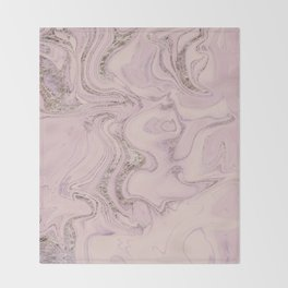 Pastel Pink Gold Faux Glitter Marble Throw Blanket