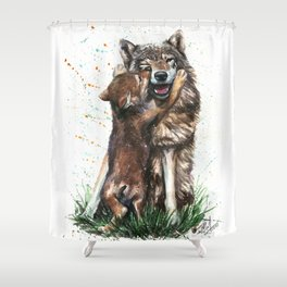 Wolf - Father and Son Shower Curtain