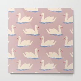 Faux Needlepoint Swans Metal Print