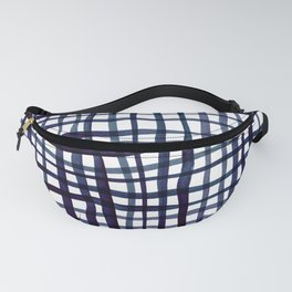Watercolor doodle gingham - indigo Fanny Pack