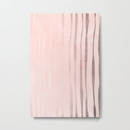 Rose Gold Pastel Pink Vertical Stripes Metal Print