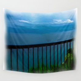 view of the infinite blue sea oil painting Wall Tapestry
