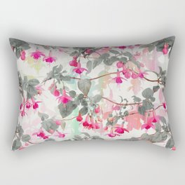 Rainbow Fuchsia Floral Pattern - with grey Rectangular Pillow
