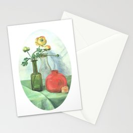 Still life with Buttercup and glass bottles Stationery Cards