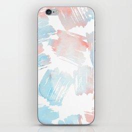 Pastel coral teal modern watercolor paint brushstrokes iPhone Skin