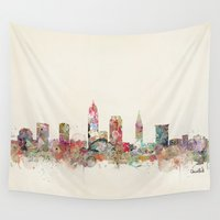 cleveland Wall Tapestries featuring cleveland ohio skyline by bri.buckley