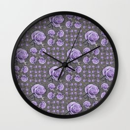 Lavender Roses Wall Clock