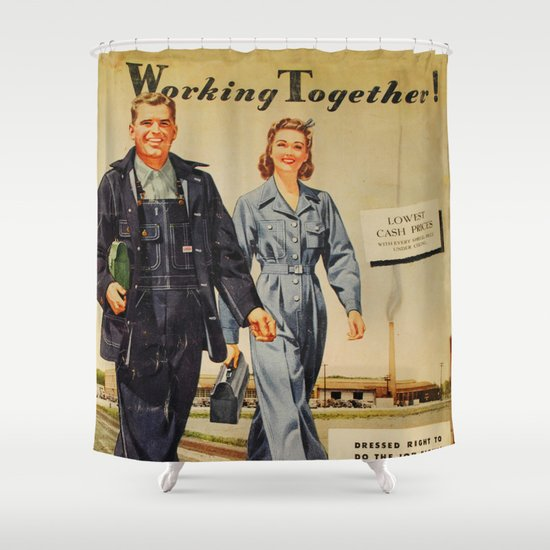 1942 Working Together Cover Shower Curtain