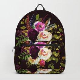 Moody Watercolor Roses on Dark Backpack