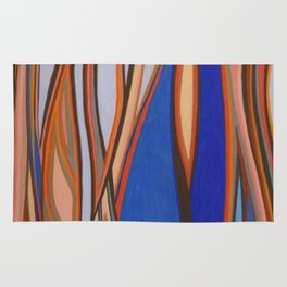 Retro Blues Browns Oranges Line Design with Pastels by annmariescreations Rug