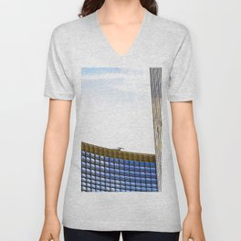 modern buildings with blue at Las Vegas, USA Unisex V-Neck