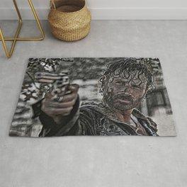 Rick Grimes Artistic Illustration Rough Style Rug
