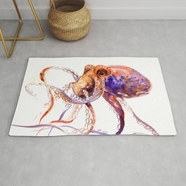 Octopus, orange purple aquatic animal design Rug