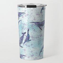 Big space whales light blue pattern Travel Mug