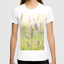 A bee on the lavender T-shirt