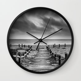 """To the beach...."" BW. At sunset Wall Clock"