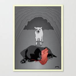 The Lamb and the Labrador Canvas Print