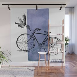 Humming Bird and Bicycle on Purple Watercolor Wash Wall Mural