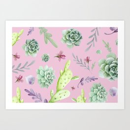 Cactus Watercolor Pattern 4 Art Print
