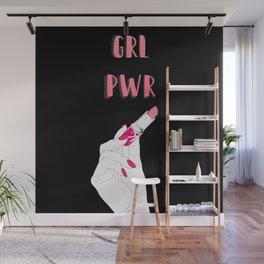 Girl power on black Wall Mural