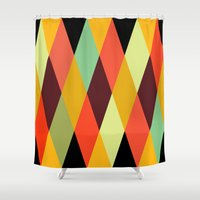 diamonds Shower Curtains featuring multicolor diamond pattern by Gary Andrew Clarke