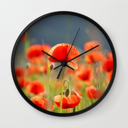 Red Poppies Flowers Wall Clock