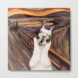 Llama The Scream Metal Print