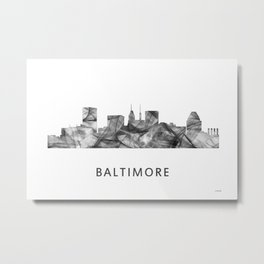 Baltimore, Maryland Skyline WB BW Metal Print