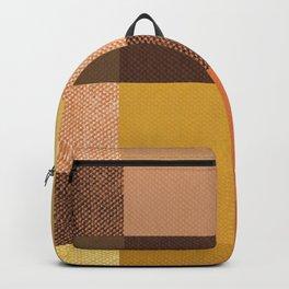 Fall Mustard Orange Golden Brown Checkered Gingham Patchwork Color Backpack