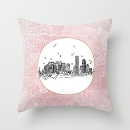 Boston, Massachusetts City Skyline Illustration Drawing Throw Pillow