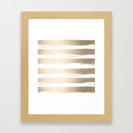 White Gold Sands Painted Thick Stripes Framed Art Print