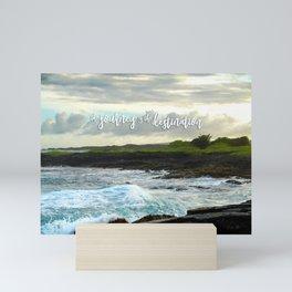 Hawaii black sand beach photo   The journey is the destination Mini Art Print