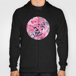 Pink Starfish and coral watercolor reef Hoody