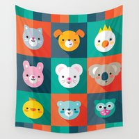 jazzberry Wall Tapestries featuring PET PARADE by Daisy Beatrice