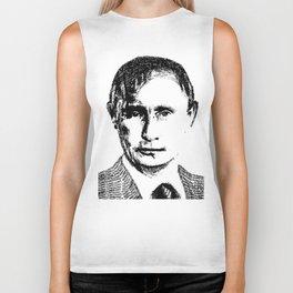 Vladimir Putin - SILENCE (rubber stamp portrait) Biker Tank