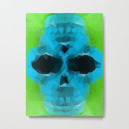 psychedelic skull art geometric triangle abstract pattern in blue and green Metal Print