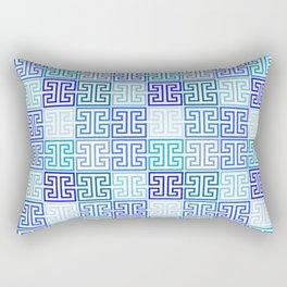 Greek Keys in Monochrome Blue Multi Rectangular Pillow