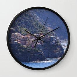 Small Town on a Cliff at Seaside, Corniglia, Cinque Terre, Liguria, Italy Wall Clock
