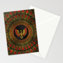 Gold and red Decorated Phoenix bird symbol Stationery Cards