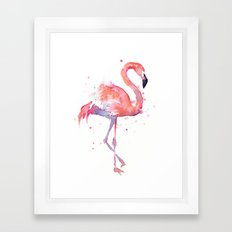 Pink Flamingo Watercolor | Tropical Animals Bird Flamingos Framed Art Print