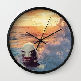 The Creature At Sunset Wall Clock