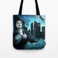 super heroes Tote Bags featuring Heroes by Nessendyl